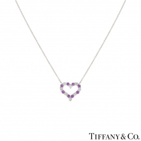 Tiffany & Co. Platinum Diamond & Sapphire Hearts Pendant